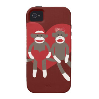 Sock Monkeys in Love Hearts Valentine's Day Gifts Case-Mate iPhone 4 Covers