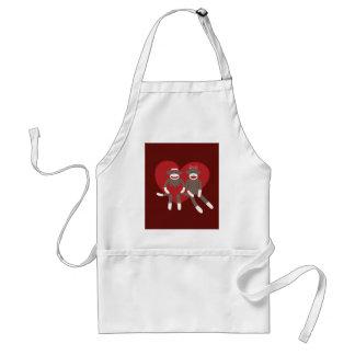 Sock Monkeys in Love Hearts Valentine's Day Gifts Standard Apron