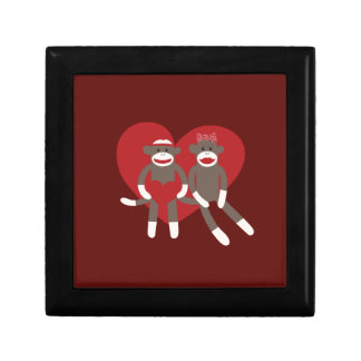 Sock Monkeys in Love Hearts Valentine's Day Gifts Trinket Box