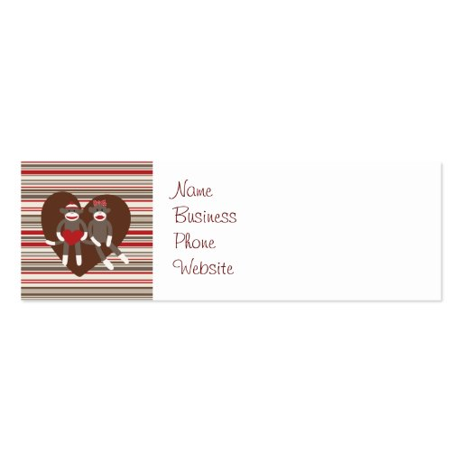 Sock Monkeys in Love Valentine's Day Heart Gifts Business Cards