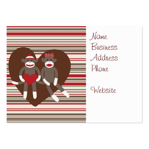 Sock Monkeys in Love Valentine's Day Heart Gifts Business Card