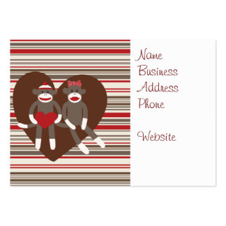 Sock Monkeys in Love Valentine's Day Heart Gifts Large Business Card