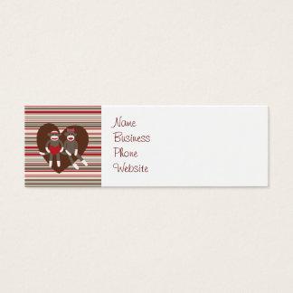 Sock Monkeys in Love Valentine's Day Heart Gifts Mini Business Card