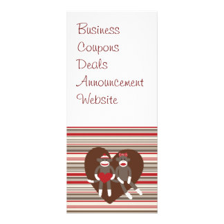 Sock Monkeys in Love Valentine's Day Heart Gifts Full Color Rack Card