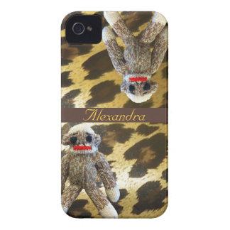 Sock Monkeys on Girly Leopard Fur Case-Mate iPhone 4 Cases