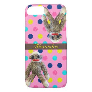 Sock Monkeys on Girly Pink Polka Dots Case-Mate iPhone Case