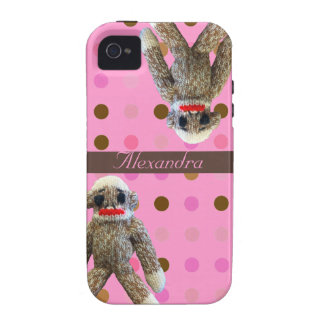 Sock Monkeys on Pink Dots iPhone 4/4S Cases