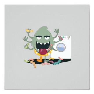 "Sock Monster 5.25"" Square Invitation Card"