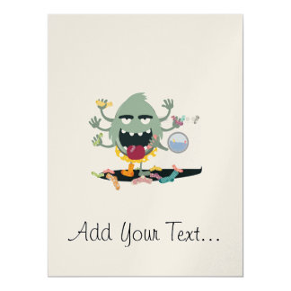 "Sock Monster 6.5"" X 8.75"" Invitation Card"
