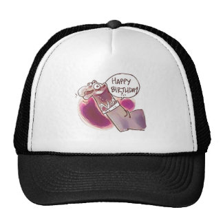 sock puppet say happy birthday trucker hat