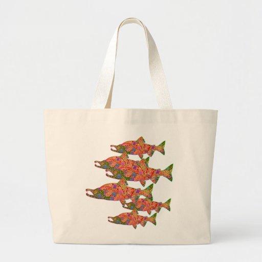 Sockeye Salmon Modern Art Image Tote Bags