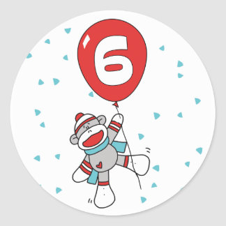 Sockmonkey 6th Birthday Round Sticker