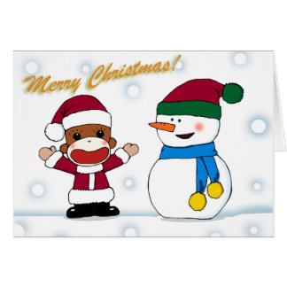 Sockmonkey and Snowman Greeting Card
