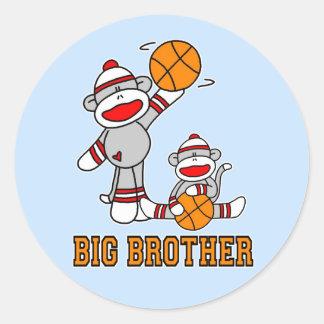 Sockmonkey Basketball Big Brother Round Sticker