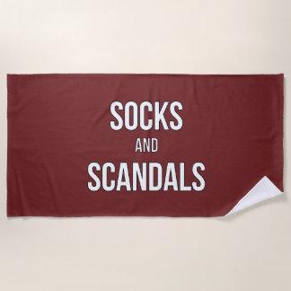 Socks and Scandals Burgundy Beach Towel