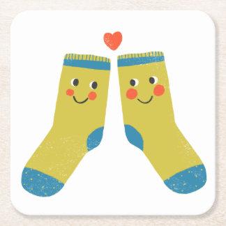 Socks in love square paper coaster