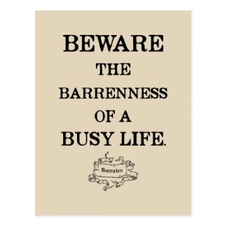 Socrates '...barrenness of a busy life' Quote Postcard