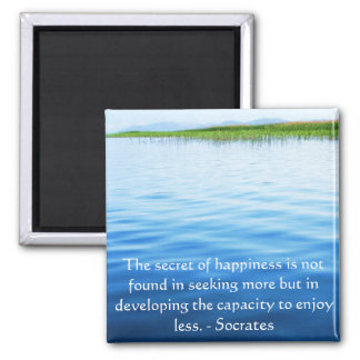 Socrates inspirational quote about Minimalism Square Magnet