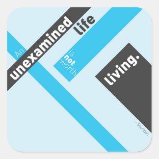"Socrates ""Unexamined Life"" Quote Square Sticker"