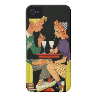 Soda for Two - Vintage 50's Illustration iPhone 4 Case-Mate Cases