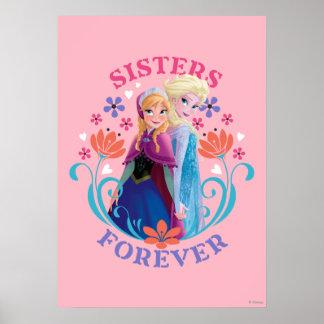 Soeurs d'Anna et d'Elsa | avec des fleurs Poster