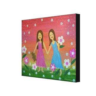 Soeurs et amis - les filles 16x20 badine l'art de toiles tendues sur châssis