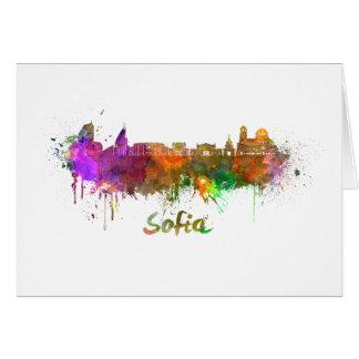 Sofia skyline in watercolor card