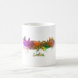 Sofia skyline in watercolor coffee mug