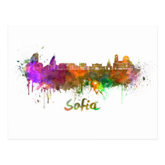 Sofia skyline in watercolor postcard