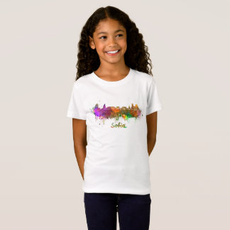 Sofia skyline in watercolor T-Shirt