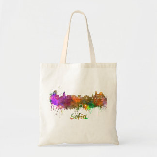 Sofia skyline in watercolor tote bag