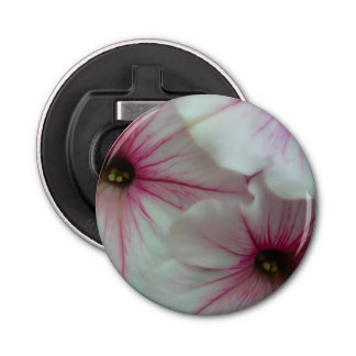 Soft and delicate Pink Petunias Button Bottle Opener