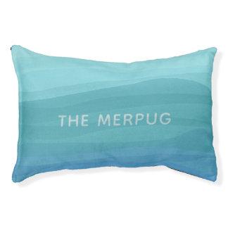 Soft Aqua Watercolor Merpug Custom Pug Dog Bed