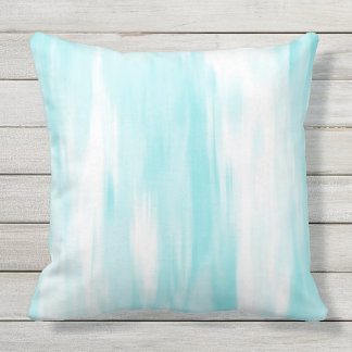 Soft Aqua White Abstract Outdoor Pillow