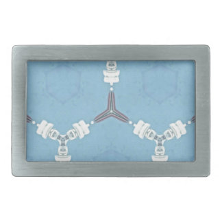 Soft Baby Blue White Gray Geometric Pattern Belt Buckle