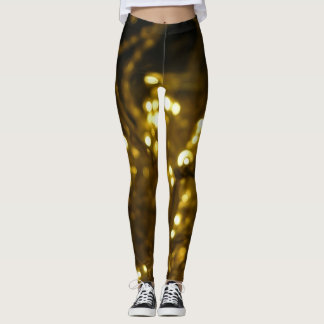 Soft black and yellow holiday lights pattern leggings