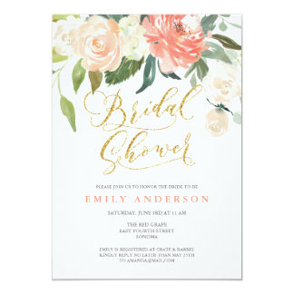 Soft Bloom Peach Floral Bridal Shower Invitation