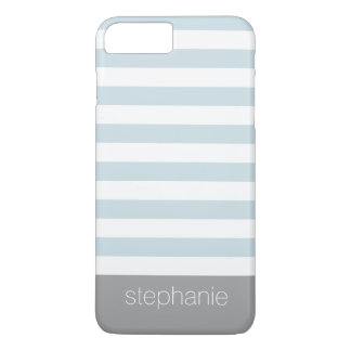 Soft Blue and White Striped Pattern Custom Name iPhone 7 Plus Case