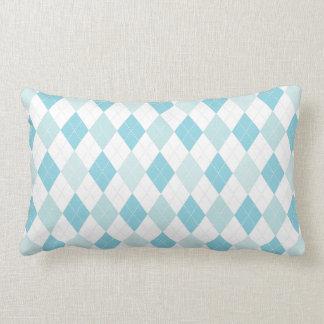 Soft Blue & Aqua Retro Seaside Argyle Pillow