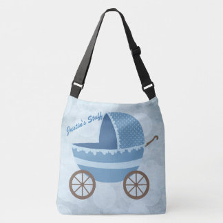 Soft Blue Baby Carriage Bokeh Crossbody Bag