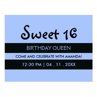 Soft Blue & Black Stripes - Sweet Sixteen Birthday Postcard