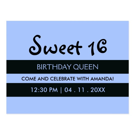 Soft Blue & Black Stripes - Sweet Sixteen Birthday Postcard