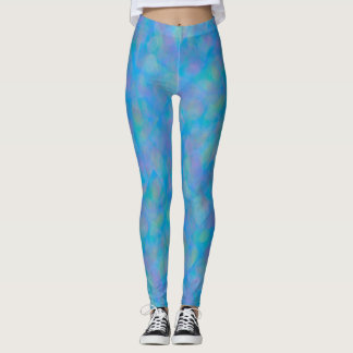 Soft Blue Cubism Abstract Leggings