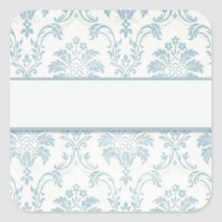 Soft Blue Damask With White Label
