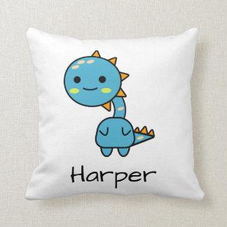 Soft Blue Dinosaur Kawaii Cartoon Throw Pillow