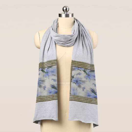 Soft Blue Flower Breeze Scarf