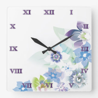 Soft Blue Flowers - Clock - 1