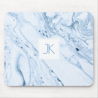 Soft Blue-Gray & White Modern Marble Swirls Mouse Pad