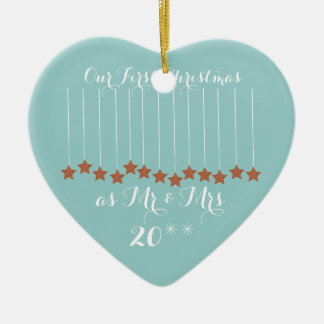 Soft Blue Heart First Christmas Together Ornament