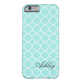 Soft Blue Monogram Moroccan Quatrefoil Pattern Barely There iPhone 6 Case